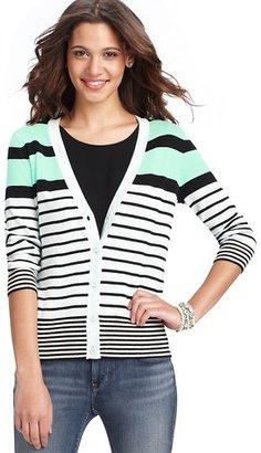 LOFT Striped 3/4 Sleeve Cardigan