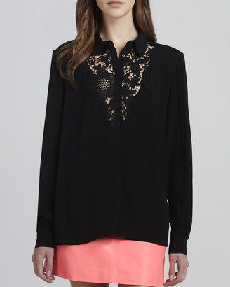 Cameo Tumbling Dice Lace-Front Blouse, Black