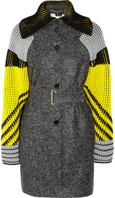 Kenzo Belted wool-blend felt and chunky-knit coat