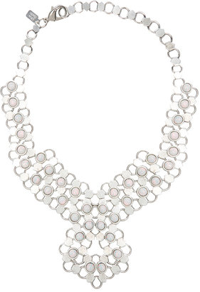Lionette by Noa Sade Lady D Antique Finished Necklace in Silver & White Opal