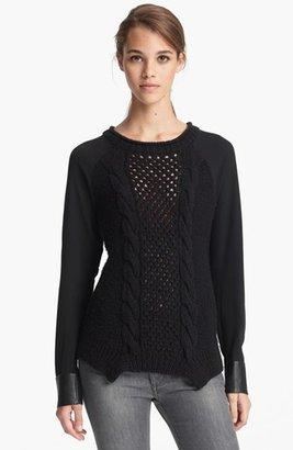 Yigal Azrou?l Azrouël Chiffon Sleeve Knit Sweater