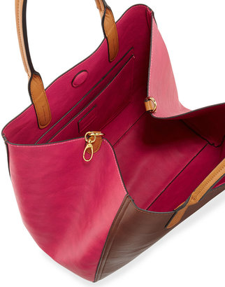 Neiman Marcus Zip-Front Colorblocked Reversible Tote Bag, Brown/Fuchsia/Luggage