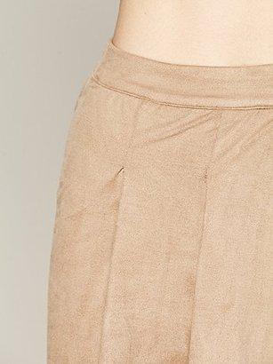 Ladakh Stretch Faux Suede Drape Skirt