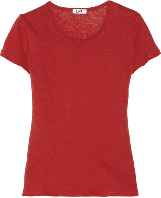 LnA Vintage slub linen and cotton-blend T-shirt