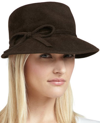 Eric Javits Velour Bow Cap, Brown