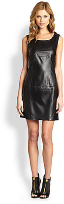 Shoshanna Leather Eva Shift Dress