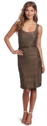AK Anne Klein Anne Klein Women's Jacquard Scoop-Neck Dress