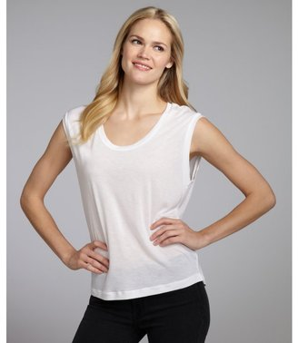 LnA white jersey scoop neck sleeveless tee