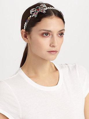 Miu Miu Swarovski Crystal Accented Bow Headband