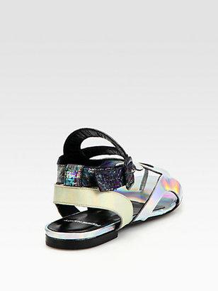 Pierre Hardy Cutout Metallic Patent Leather & Snakeskin Sandals