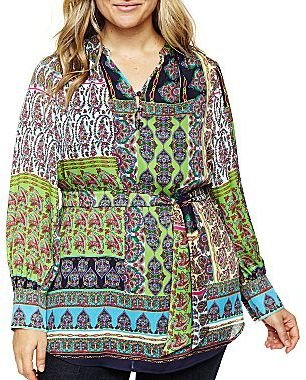 Liz Claiborne Belted Split-Neck Tunic - Plus