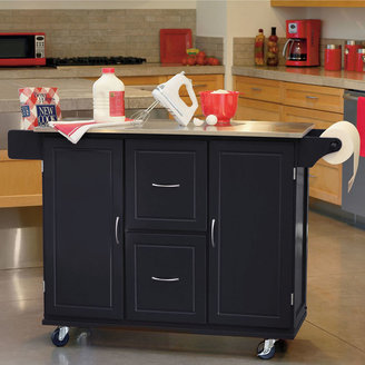 JCPenney Buylateral Jefferson Rolling Kitchen Cart with Stainless Steel Top and Towel Rack
