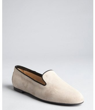 Tod's light grey and black suede grosgrain trimmed loafers