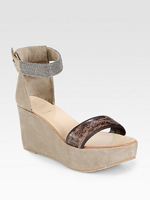Brunello Cucinelli Leather & Suede Ankle Strap Wedge Sandals
