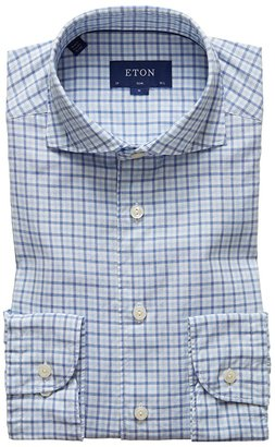 Eton Soft Blue Checked Flannel Shirt - Slim Fit