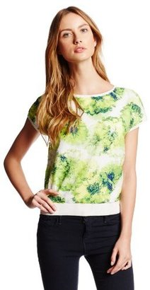 Magaschoni Women's Crew Neck Short Sleeve Pullover with Printed Sequin Detail