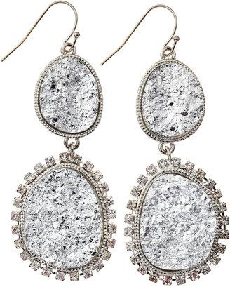 RJ Graziano Two-Tier Druzy Drop Earrings, Silvertone