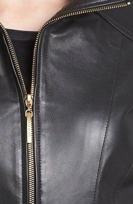 Ellen Tracy Belted Leather Jacket (Nordstrom Exclusive)
