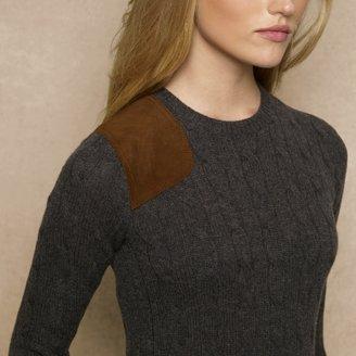 Ralph Lauren Blue Label Suede-Gunpatch Sweater