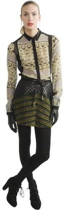 Charlotte Ronson Women's Bias Mini Quilted Leather Skirt