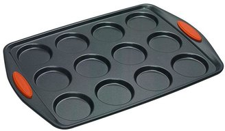 Rachael Ray 12-Cup Nonstick Whoopie Pie Pan with Orange Silicone Grip Handles