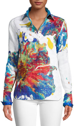 Robert Graham Explosive Poppy Linen-Cotton Shirt