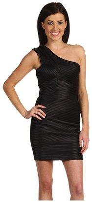 BCBGMAXAZRIA One Shoulder Satin Bandage Dress (Black) - Apparel