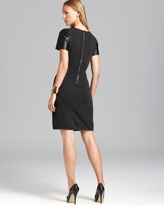 Bloomingdale's C by Leather Trim Cashmere Dress