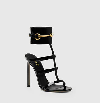 Gucci Ankle-Strap Patent Leather Sandal