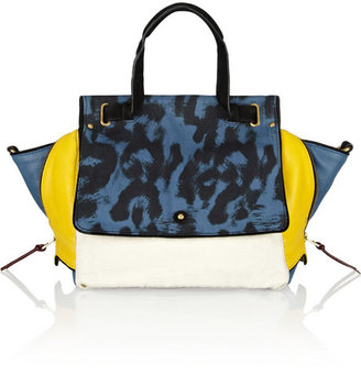 Jerome Dreyfuss Johan leather and leopard-print canvas shoulder bag
