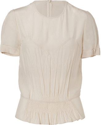 Joseph Ecru Short Sleeve Silk Top