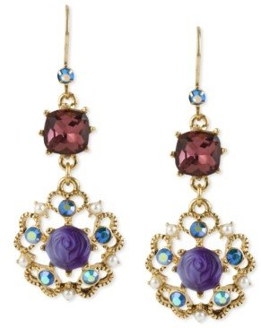 Betsey Johnson Antique Gold-Tone Flower Medallion Crystal Drop Earrings