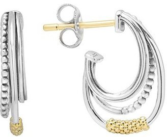 Women's Lagos Caviar 'Superfine' Two-Tone Station Hoop Earrings $275 thestylecure.com