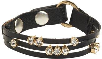 Aeropostale Faux Leather Bling Snap Bracelet