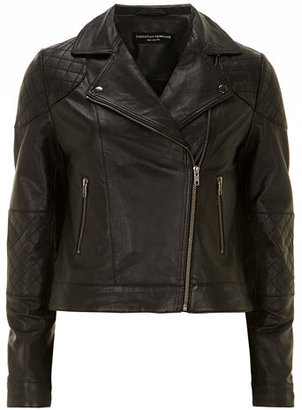 Dorothy Perkins Black quilted leather biker
