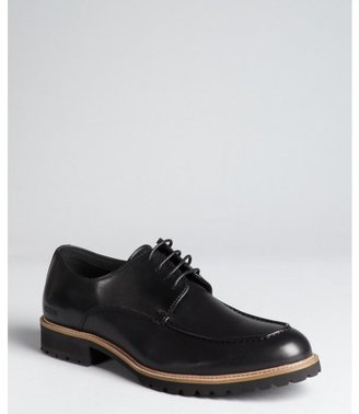 Kenneth Cole Reaction black leather and synthetic 'Act Now' heavily treaded lace-up oxfords