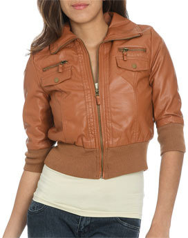 Wet Seal WetSeal Faux Leather Bomber Jacket Black