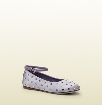 Gucci Kid's Lilac Satin Ballet Flat With Crystal Studs