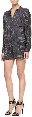 Haute Hippie Shimmery Camouflage-Print Jumpsuit