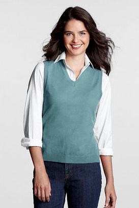Lands' End Women's Petite Fine Gauge V-neck Sweater Vest