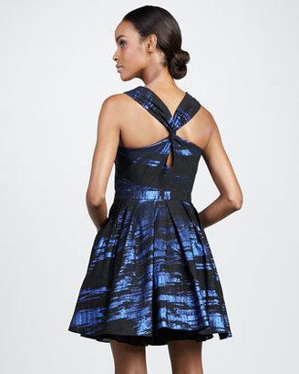Nicole Miller Printed V-Neck Cocktail Dress