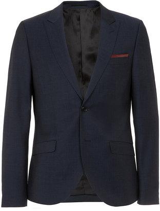 Topman Navy Tonic Peak Skinny Suit Jacket