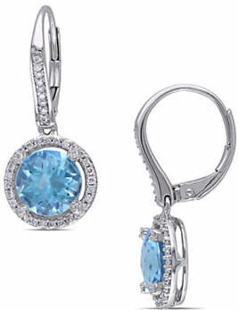 HBC CONCERTO 14K White Gold Topaz and Halo Earrings with 0.33 TCW Diamonds