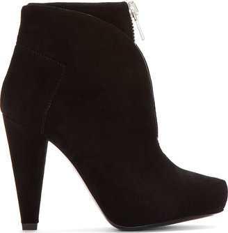 Proenza Schouler Black Suede Zippered Ankle Boots