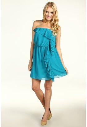 BCBGMAXAZRIA BCBGeneration - Ruffle Tube Dress (Teal Blue) - Apparel