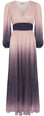 Traffic People Silent Breathe Maxi Dress In Pink And Purple