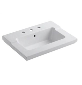 "Kohler Tresham 25"" 1 Piece Surface and Integrated Lavatory Vanity Top Top Finish: White, Faucet Mount: Single Hole"