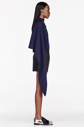 J.W.Anderson Navy Asymmetrical Layered sweater