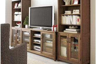 """Crate & Barrel Ainsworth Walnut 30"""" Media Tower with Glass/Wood Doors"""