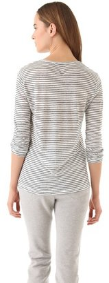Alexander Wang Linen Stripe Tee with Long Sleeves